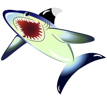 man eater: EPS10 vector illustration. Shark isolated on a white background