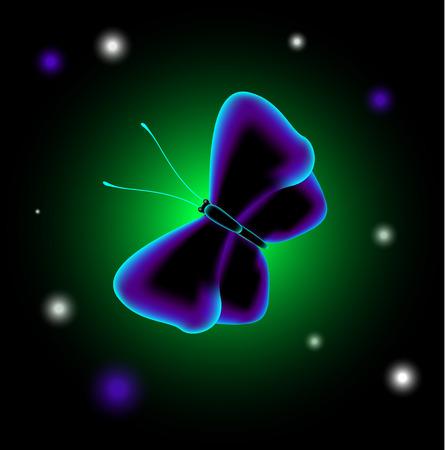luminescent: EPS10 vector illustration. Fantastic luminescent butterfly