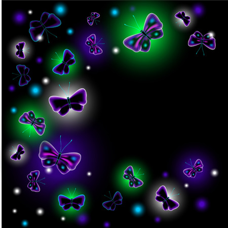 luminescent: EPS10 vector illustration. Glowing background with Fantastic luminescent butterfly