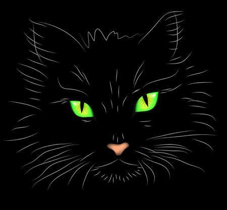 Vector illustration a portrait of a cat on a black background with brightly green eyes