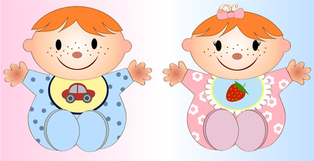 underage: Twin Baby Boy And Girl.Vector illustration Two children Illustration
