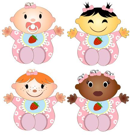 niños de diferentes razas: Ilustración vectorial 4 bebés niña. Cuatro niños de la niña de diferentes razas aisladas sobre un fondo blanco Vectores