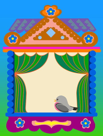 traditional house: Window of the Russian traditional house tower with multi-colored to patterns. On a window the bird sits. A simple vector illustration.Place for your text. Illustration