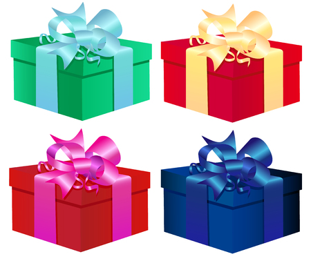 set of four colorful vector gift boxes  Isolated On White Background Vector