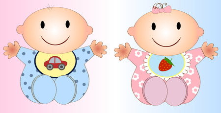 Twin Baby Boy And Girl.Vector illustration Two children Illustration
