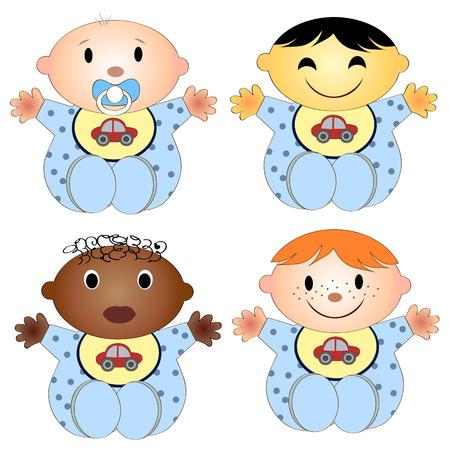 ni�os de diferentes razas: ilustraci�n vectorial de 4 beb�s. Cuatro ni�os del ni�o de diferentes razas aisladas sobre un fondo blanco Vectores