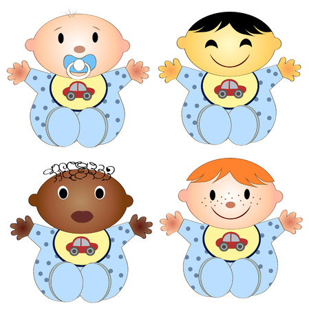 mixed race children: vector illustration of 4 babies. Four children of the boy of different races isolated on a white background