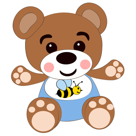 Vector illustration a childrens toy bear isolated on a white background Illustration