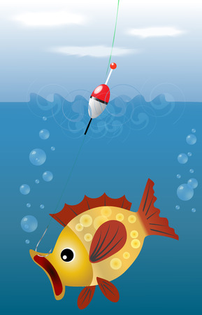 EPS10 vector illustration fishing. sky, water, and fish, which fell on the hook size. Fishing. Illustration