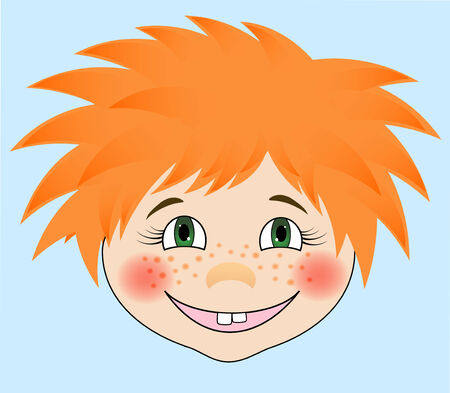 red haired person: EPS10 vector illustration.   Portrait of a red-haired boy. Cartoon style. Illustration