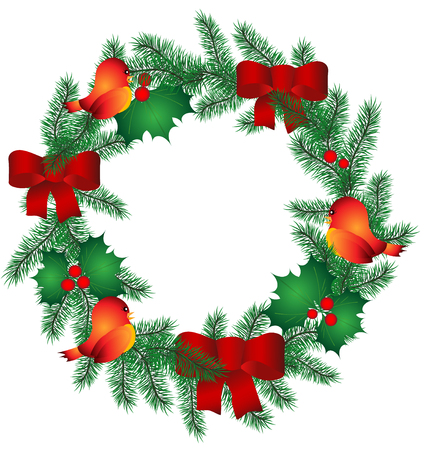 pine boughs: Christmas Wreath with red ribbon and birds. Vector Illustration