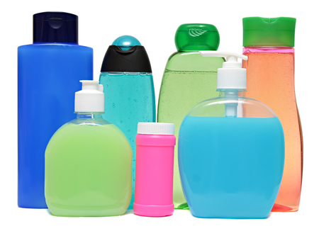 Set colored plastic bottles with liquid soap and shower gel isolated on white background . Studio shooting. Set. photo