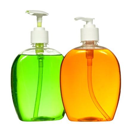 ゲル、液体石鹸、ローション、クリーム、シャンプーの閉じた化粧品や衛生ブルー プラスチック ボトル。白い背景上に分離。