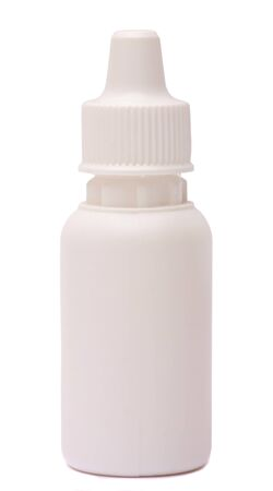 nasal drops: Bottles with drops and spray nasal drops isolated on white background . Medicine for a cold clipping path