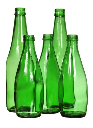 non alcoholic beer: Five green glass bottles isolated on a white background