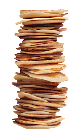 griddle: Pile of pancakes isolated on a white background