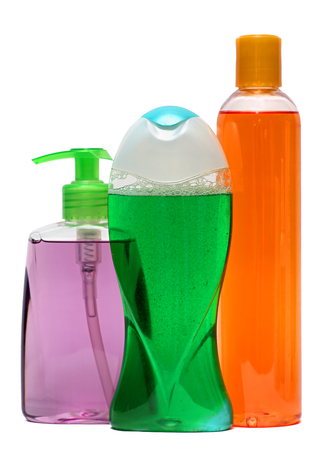 Plastic Bottle with Shampoo or hygienic cosmetic product, isolated on a white background