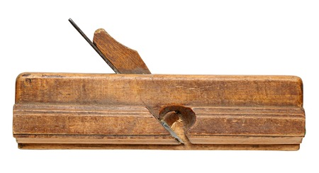 wood planer: old molding plane  isolated on a White Background.