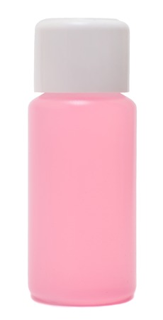 remover: bottle of nail polish remover, isolated over white background
