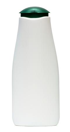 champú: Botella de plástico con champú o producto cosmético higiénico, aislado en un fondo blanco