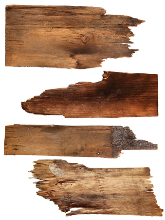 moulding: Four old wooden boards isolated on a white background. Old Wood plank