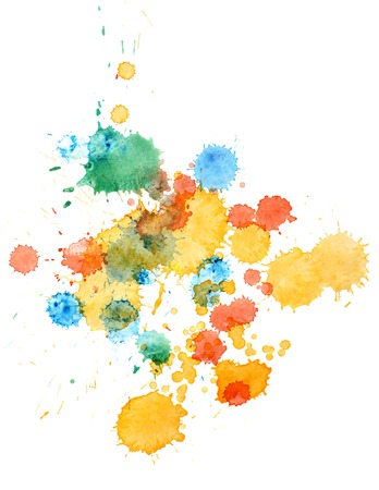 colorful retro vintage abstract watercolour aquarelle art hand paint on white background. painting with paint blots