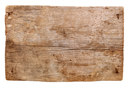 old wooden boards isolated on white background. close up of an empty wooden sign Imagens