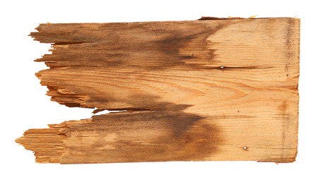old wooden boards isolated on white background. close up of an empty wooden sign with clipping path