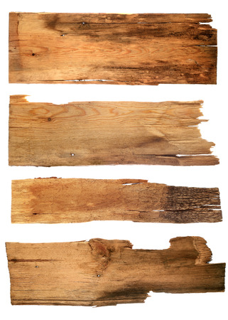 old wooden boards isolated on white background. close up of an e