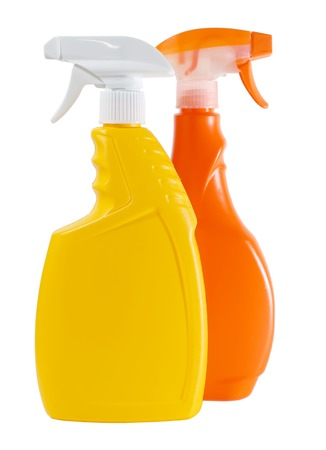 Plastic spray Bottle with Cleaner isolated on white background Imagens