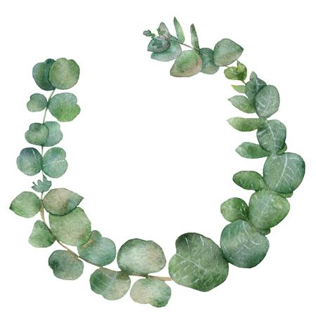 Üppiger Eukalyptusrahmen auf weißem Hintergrund. Aquarellzweige und frische Eukalyptusblätter. Handbemalte Heilpflanzen für schönes Design. Artikel für Hochzeit oder Grußkarte.