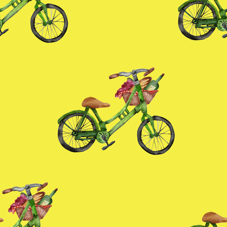 Watercolor seamless pattern, green bicycle with big picnic basket, isolated on yellow background. Bicycle, wine, bread, grapes. Tasty trip. 스톡 콘텐츠