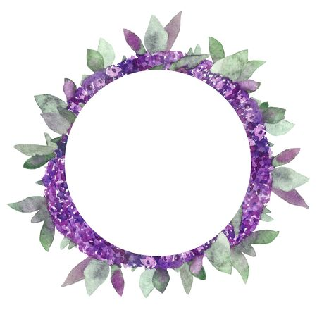 Watercolor hand painted summer nature border frame with purple flowers and green leaves and branches for invitations and greeting cards with the space for text 写真素材