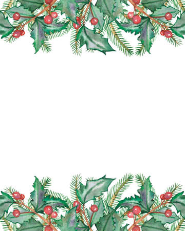 Watercolor hand painted nature winter holiday banner frame with green fir branches and holly red berries and green leaves on the white background for christmas greeting card with the space for text
