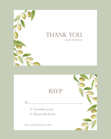 Watercolor hand painted nature wedding frames set with green olives on branches bouquet, thank you and rsvp names text for invitation and greeting card on the white background