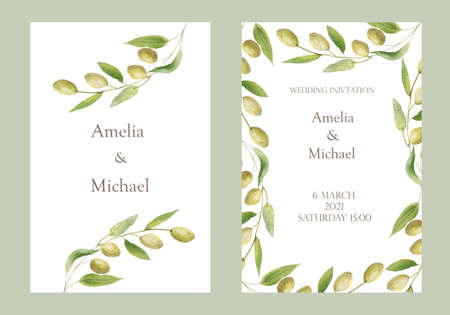 Watercolor hand painted nature two wedding frames set with green olives on branch composition and text for names and invitation card on the white background