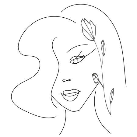 Stylized face of a woman with flower. A hand-drawn portrait of a young girl in the style of a single line. Fashion design Vektoros illusztráció