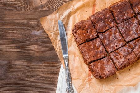 Brownie on a dark wooden background Stock Photo