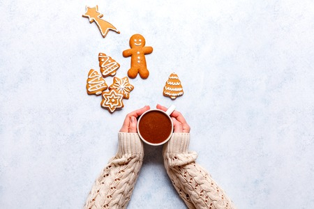 Christmas ginger cookies on a gray-blue background, horizontal, new Year, flat lay, copyspace Stok Fotoğraf