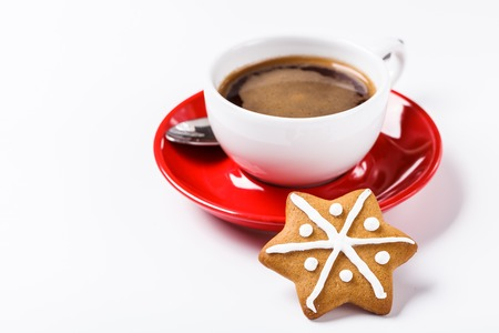 Christmas cookies in a white wooden box with hot chocolate and marshmelow, on a light background. horizontal