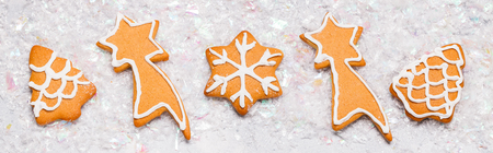 Christmas ginger cookies gray background, vertically, new Year