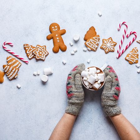 Christmas ginger cookies on a gray-blue background, horizontal, new Year, flat lay, copyspace, hands in mittens, square