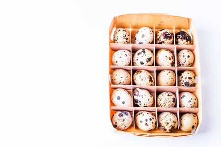 eggs in birch bark box isolated on white background, horizontal, copyspace