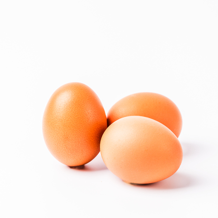 eggs isolated on white background, copyspace, square