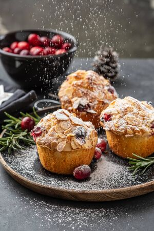 Muffins, cakes with cranberry and almond nuts. Christmas decoration. Close up. 免版税图像