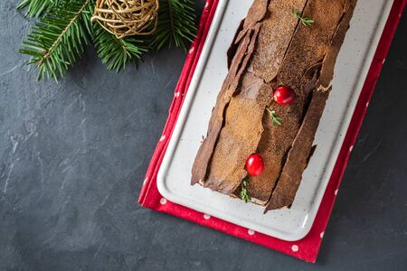Traditional Christmas dessert, Christmas yule log cake with chocolate cream, cranberry and rosemary twigs. On stone gray background with Christmas tree branches, copy space top view Stockfoto