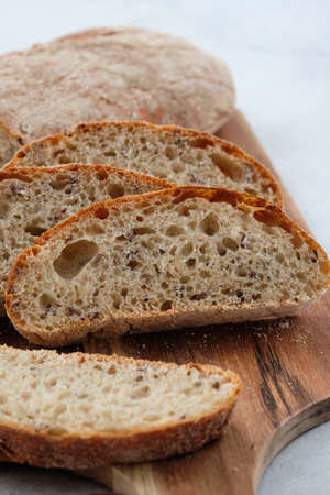 Fresh homemade rye ciabatta. The concept of comfortable delicious family food. Carbohydrates. Bakery.