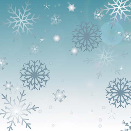 Dark blue vector card with colored snowflakes. Decorative shining illustration with snow on light template.  イラスト・ベクター素材
