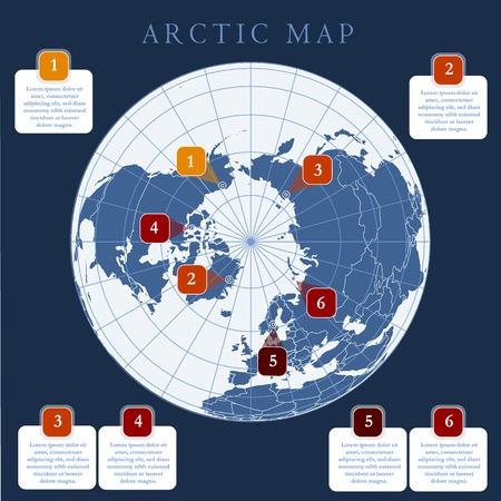 Mapa del Ártico con el límite de los países, la cuadrícula y la etiqueta. Regiones árticas del hemisferio norte. Proyección circumpolar. Vector. Infografía. Fondo oscuro.