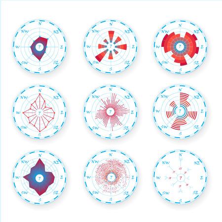 Set grafico meteorologico grafico rosa dei venti, rosa dei venti. Rosa del vento per materiali scientifici e design infografico Vettoriali